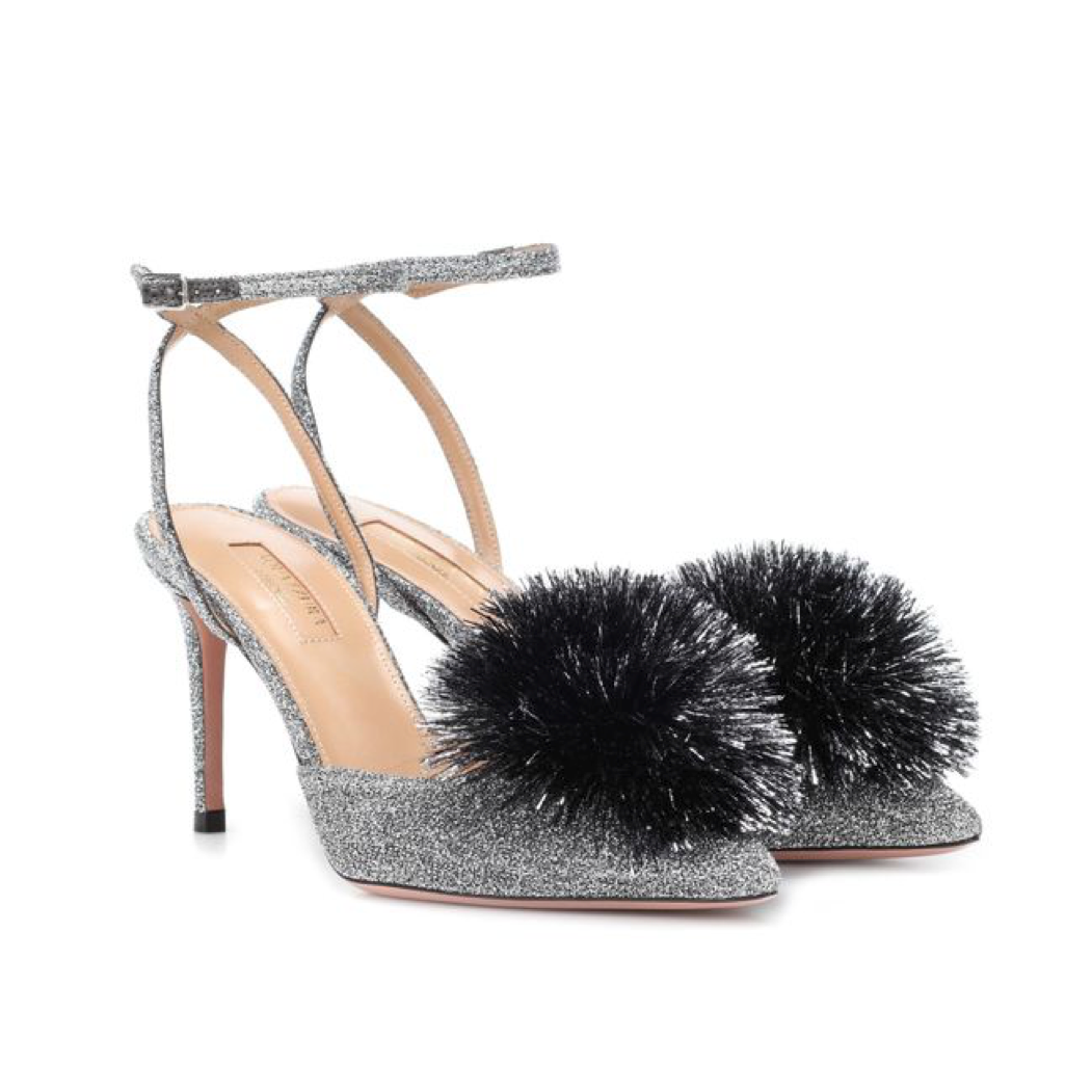 6f081e3d65 Aquazzura Powder Puff Shimmering Silver Velvet Pump with Pom Pom (Powder  Puff - Silver)
