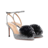 Aquazzura Powder Puff Shimmering Silver Velvet Pump with Pom Pom