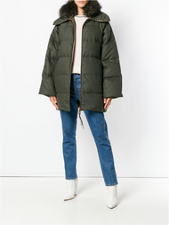 Agnona Reversible Puffer Jacket with Fox Fur Collar