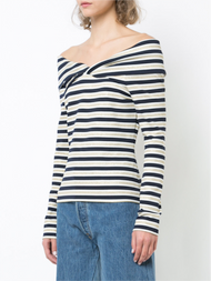 Oscar de la Renta Striped Off-The-Shoulder Blouse