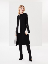 Oscar de la Renta Pearl Embroidered Stretch Wool Crepe Coat
