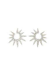 Oscar de la Renta Silver-Tone Small Pavé Sea Urchin Earrings
