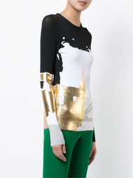 Oscar de la Renta Abstract Metallic Printed Top