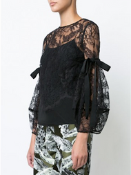 Oscar de la Renta Black Lace Balloon Sleeve Blouse with Bow Detail