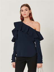 Oscar de la Renta Navy  Silk Georgette Cold Shoulder Ruffle Blouse