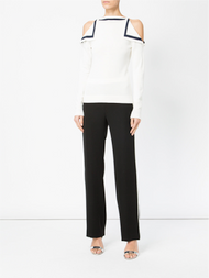 Oscar de la Renta Cold Shoulder Knitted Top