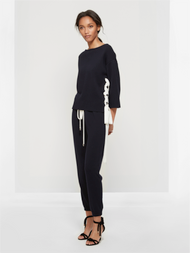 Oscar de la Renta Side Lace-Up Sweater