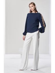 Oscar de la Renta Women Embellished Stretch Silk Top