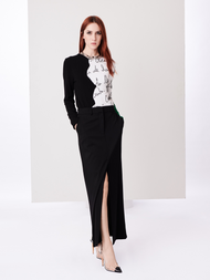 Oscar de la Renta Black Stretch-Wool-Gabardine Skirt