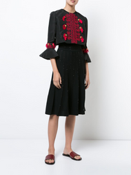 Oscar de la Renta Tassel Embroidered Cropped Jacket