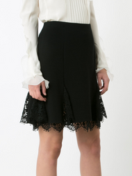 Oscar de la Renta A-Line Skirt with Lace Detail