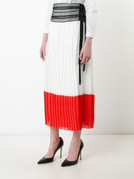 Oscar de la Renta Pleated Color-Block Skirt with Side Slit