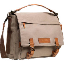 Kelly Moore The Kate Bag (2.0) (Beige Canvas with Brown Trim)