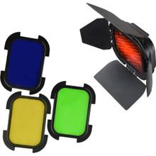Godox Barndoor Kit with 4 Color Gels for AD200 Speedlight Head