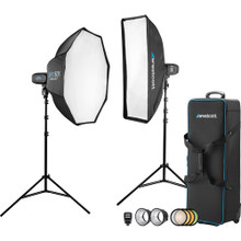 Westcott 2-Light Location Kit with FJ-X2m Wireless Trigger, Rapid Box Switch Octa-M, and 1x3 Strip Bank (US Plug)