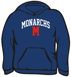 2a. Monarchs Gildan Cotton Hoody  - NAVY
