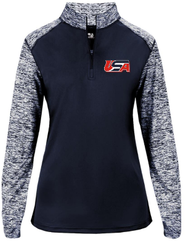 5b. AIST Badger Women's Sport Blend 1/4 Zip  - NAVY