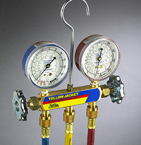"""Ritchie Yellow Jacket 42006 - Series 41 Manifold, 3-1/8"""" Gauges w/Hoses, R22/134A/404A"""