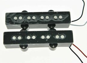 * NEW Ceramic for Fender Jazz Bass PICKUP SET Strat Pickups Black Covers