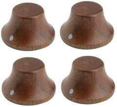 *NEW Set of 4 Wood Bell CONTROL KNOBS for Gibson Les Paul Strat Push On Walnut