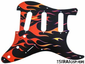 * NEW Stratocaster PICKGUARD for Fender Vintage Strat 8 Hole Flames Print