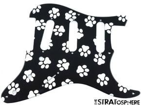 * NEW Stratocaster PICKGUARD for Fender Vintage Strat 8 Hole Paws Print