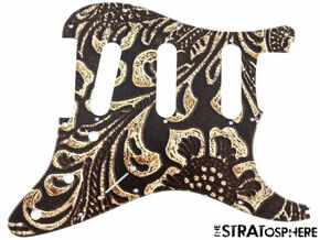 BSTOCK Strat Tooled Leather Print PICKGUARD 11 Hole for Fender BROKEN TIP