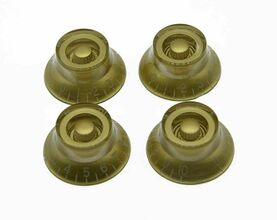 *NEW 4 Bell Top Hat CONTROL KNOBS for Gibson Les Paul 6mm Shaft Push On Gold