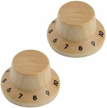 *NEW 2 Wood Bell CONTROL KNOBS for Gibson Les Paul Strat Push On Maple