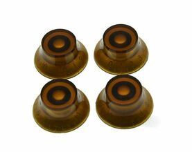 *NEW 4 Bell Top Hat CONTROL KNOBS for Gibson Les Paul 6mm Shaft Push On Amber