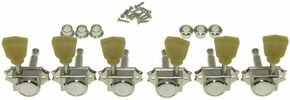 *NEW 3x3 Vintage Locking TUNERS for Les Paul 14:1 Ratio Nickel + Green Tulip