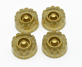 *NEW 4 CONTROL KNOBS for Gibson Les Paul 6mm Shaft Push On Speed Gold  Knurled