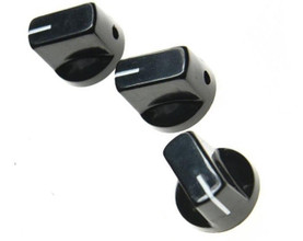 *NEW Set of 3 Amp Style Pointer KNOBS for Amps, Pedals + Guitars Black