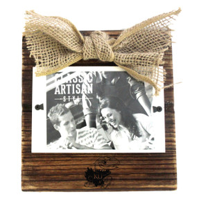 Kansas Wood Frame with Burlap Bow