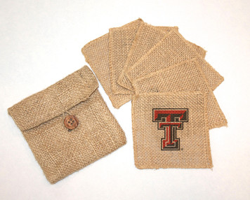 Texas Tech Burlap Coasters