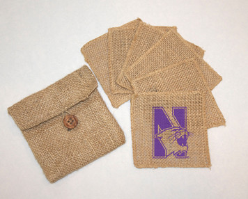 Northwestern Burlap Coasters