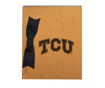 Texas Christian Burlap Brag Book