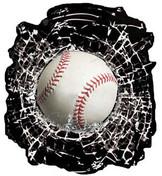 BASEBALL BREAKING GLASS - Decal