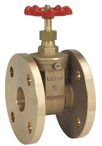 Bronze Econ® gate valve with bronze wedge and seat, pressure rating PN 16, flat faced flanges acc. to DIN PN 10/16, threaded bonnet, inside screwed stem, non- rising stem and handwheel, Face To Face acc. to EN 558-1, 47 (DIN 3202-F19).  Heavy duty construction with flat faced flanges.  Application: cold and hot water, saturated steam and other neutral media.  Application area: general; but primarily used in shipbuilding.
