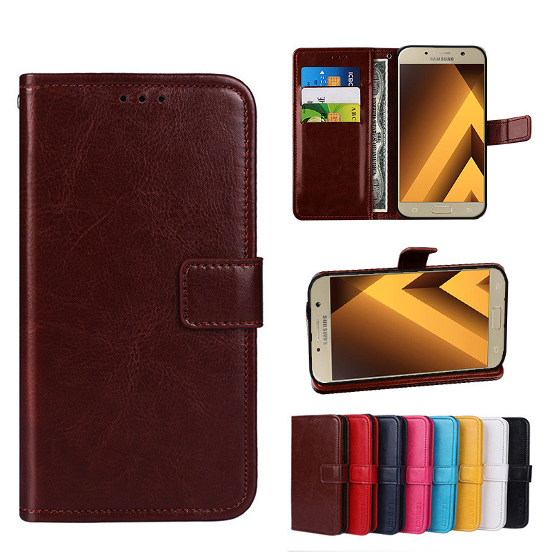 low priced 902aa ecb2e Folio Case Samsung Galaxy A5 2017 Handset Leather Cover A520 Phone
