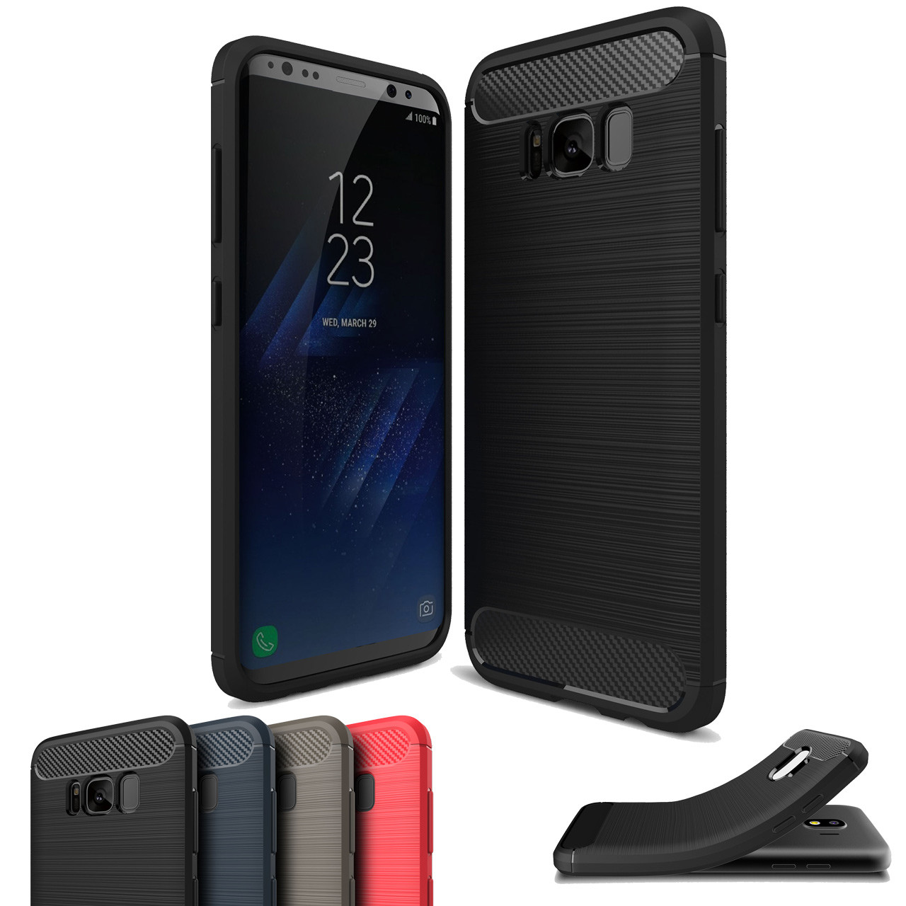 quality design b84bc 58c54 Slim Samsung Galaxy S8 Plus S8+ Carbon Fibre Soft Phone Case Cover S