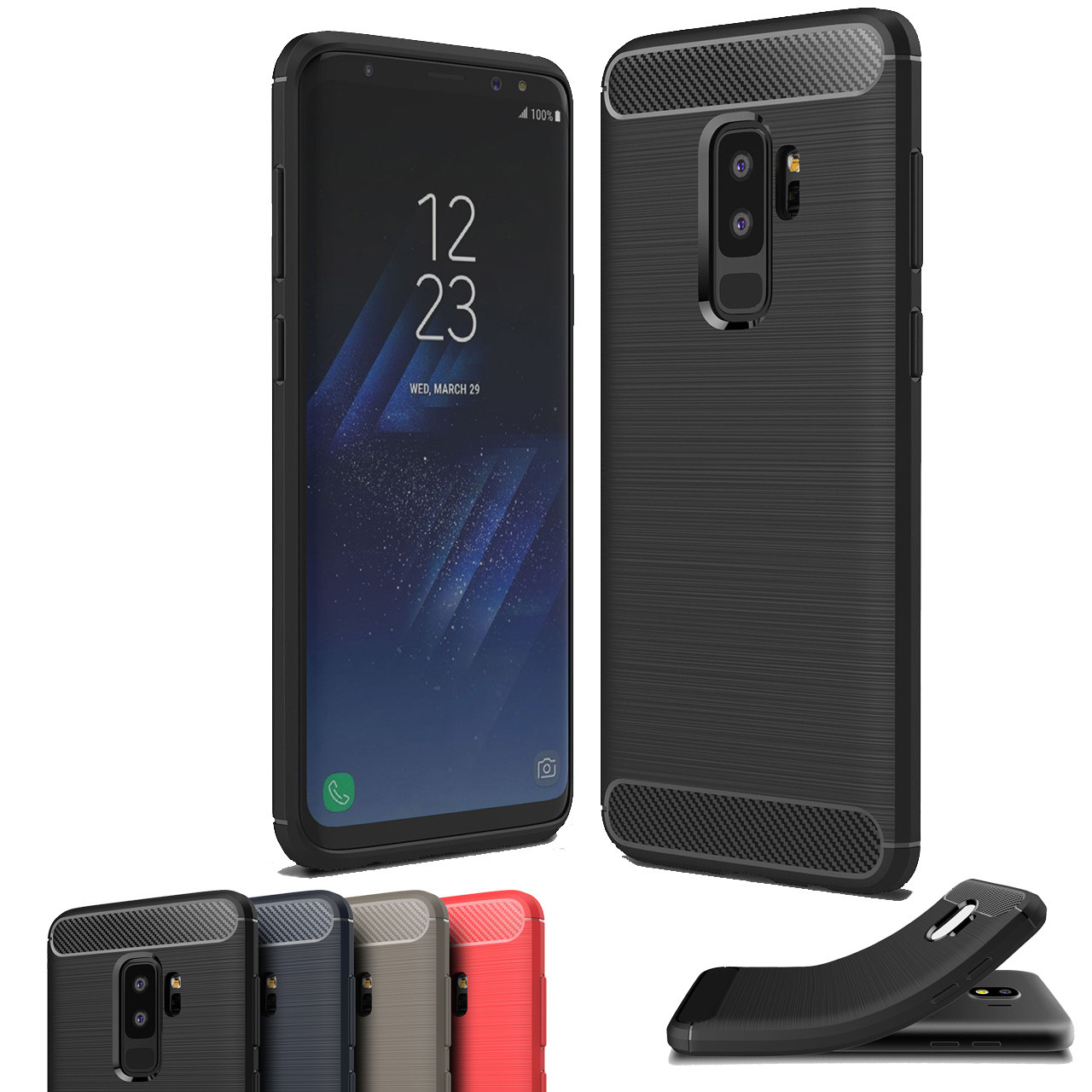 best service 6ec04 2b055 Slim Samsung Galaxy S9 Plus S9+ Carbon Fiber Soft Case Cover Skin G965