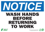 NOTICE Wash Hands Before Returning to Work