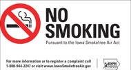 No Smoking Pursuant to the Iowa Smokefree Air Act, For more information or to register a complaint call 1-888-944-2247 or visit www.IowaSmokefreeAir.gov