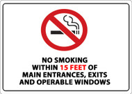 No Smoking Within 15 Feet of Main Entrances, Exits and Operable Windows
