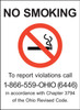 No Smoking, To report violations call 1-866-559-OHIO (6446) in accordance with Chapter 3794 of the Ohio Revised Code.