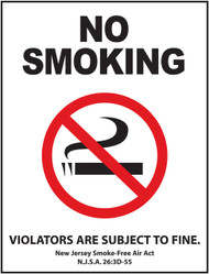 No Smoking, Violators Are Subject To Fine. New Jersey Smoke-Free Air Act, N.J.S.A. 26:3D-55
