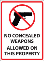 No Concealed Weapons Allowed On This Property