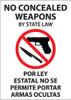 No Concealed Weapons By State Law, Por Ley Estatal No Se Permite Portar Armas Ocultas