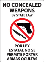No Concealed Weapons By State Law, Por Ley Estatal No Se Permite Portar Armas Ocultas